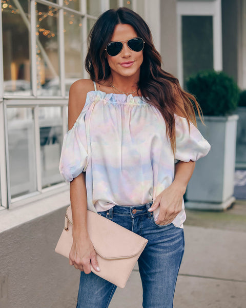 Phyllis Puff Sleeve Cold Shoulder Blouse