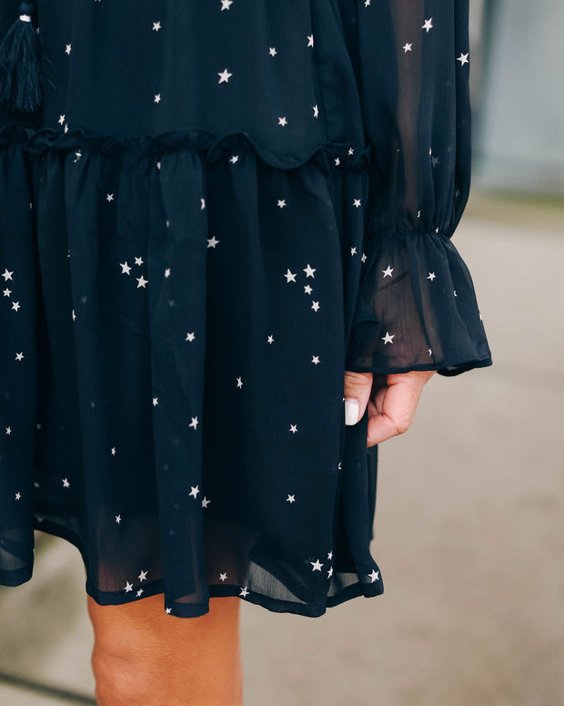 Sagittarius Star Print Ruffle Dress