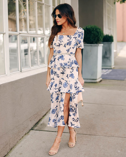 Solana Floral Ruffle Tiered Midi Dress - FINAL SALE