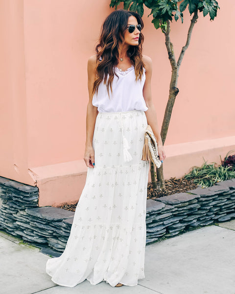 Lake Como Embroidered Tiered Maxi Skirt