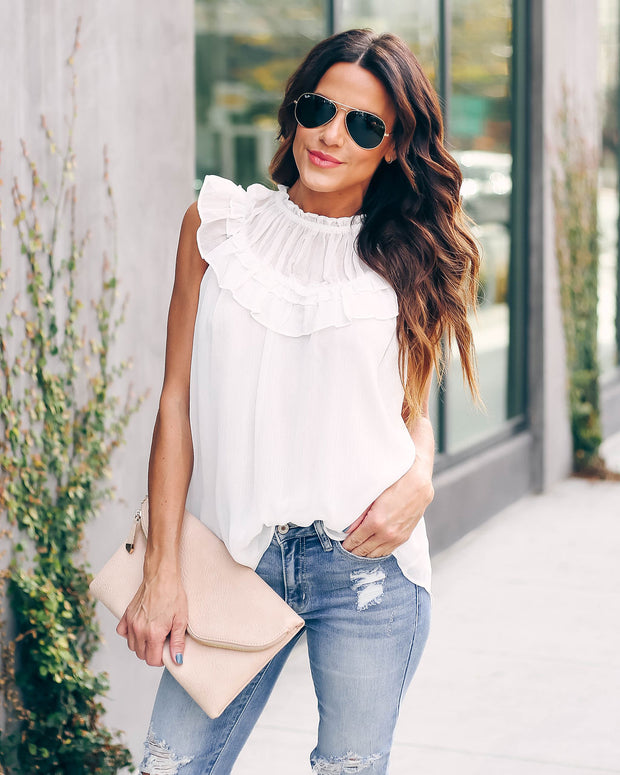Slice Of Heaven Chiffon Ruffle Tank - Off White