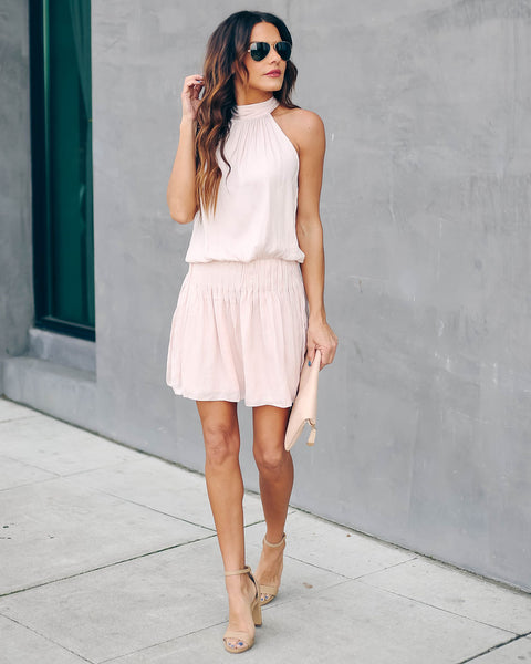Dance With Me Halter Dress - Blush - FINAL SALE