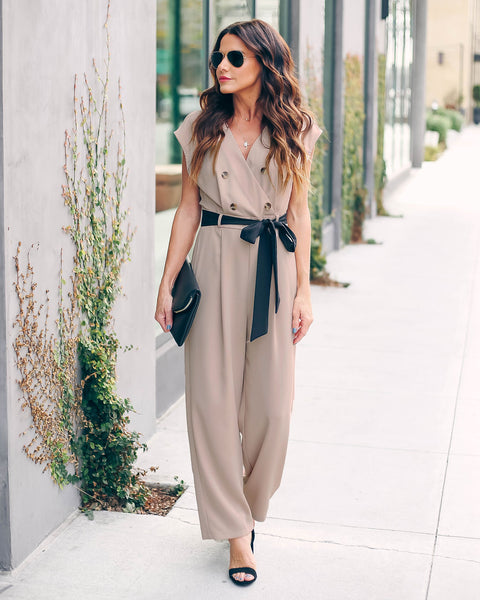 Workweek And Beyond Tie Jumpsuit