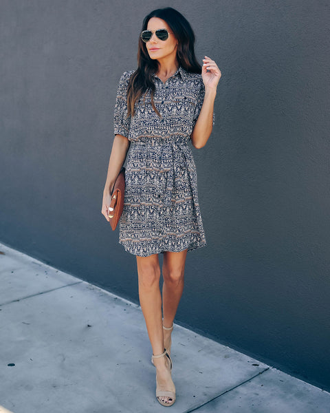Sebastian Printed Button Down Shirt Dress  - FINAL SALE