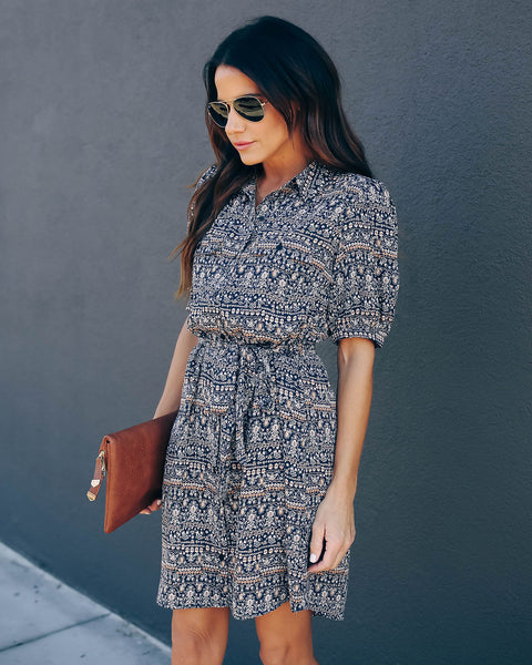 Sebastian Printed Button Down Shirt Dress