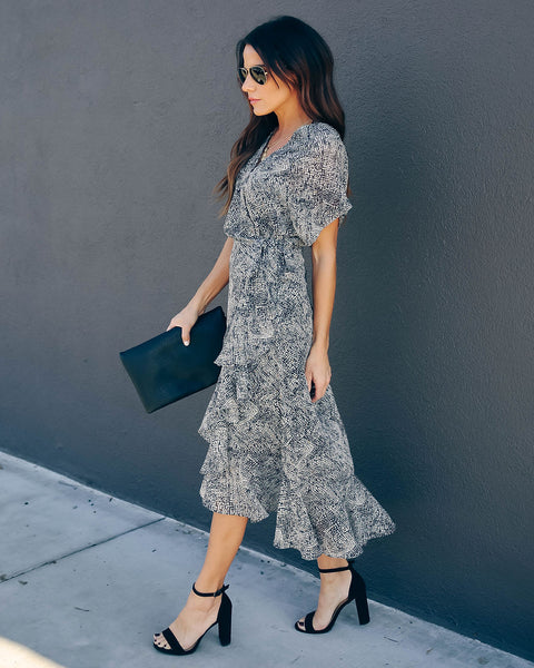 Ins And Outs Ruffle Wrap Midi Dress - FINAL SALE