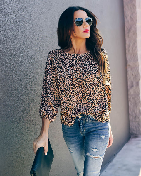 Thinking Out Loud Leopard Babydoll Blouse