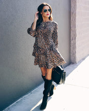Kosey Ruffle Tiered Leopard Tunic - FINAL SALE