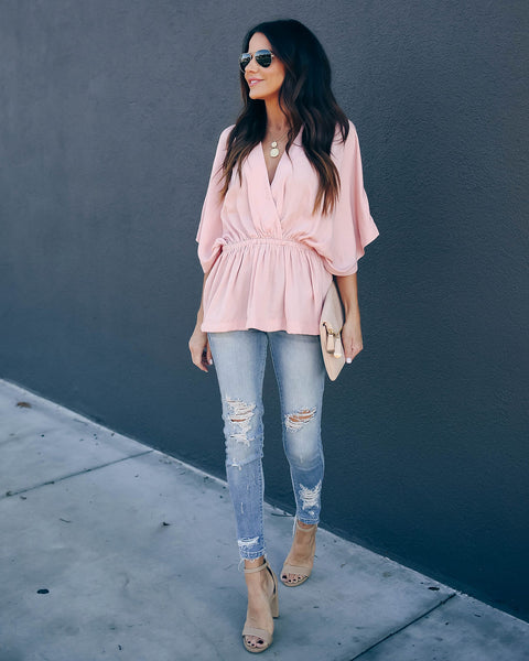Love Stories Peplum Blouse - Rose