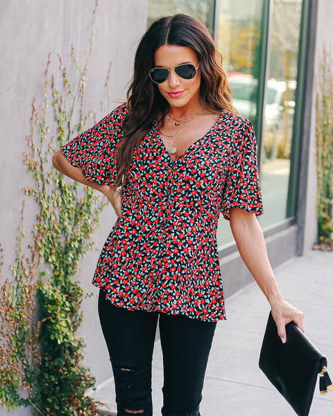 Anthurium Button Down Peplum Top - FINAL SALE