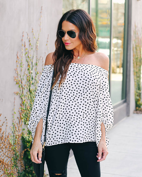 Nonna Spotted Off The Shoulder Blouse - FINAL SALE
