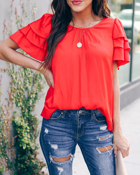 Candy Apple Satin Tiered Sleeve Blouse