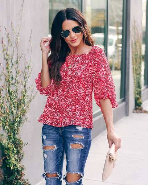Do Your Thing Floral Ruffle Blouse