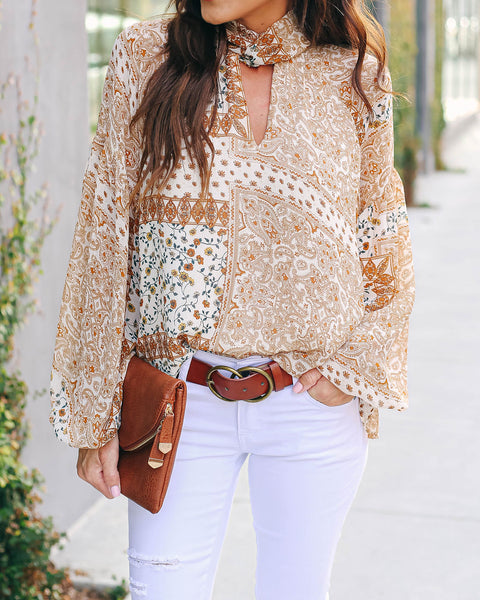 Keyhole Mix Print Mock Neck Blouse - FINAL SALE