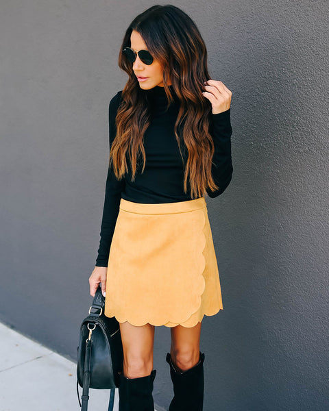 Cider Faux Suede Scalloped Mini Skirt - Mustard