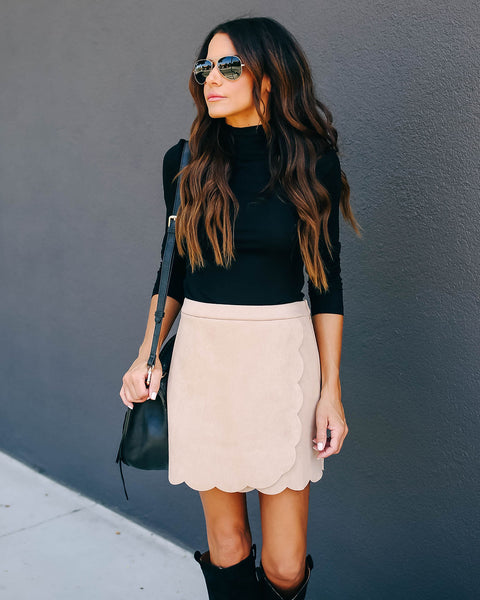 Cider Faux Suede Scalloped Mini Skirt - Taupe