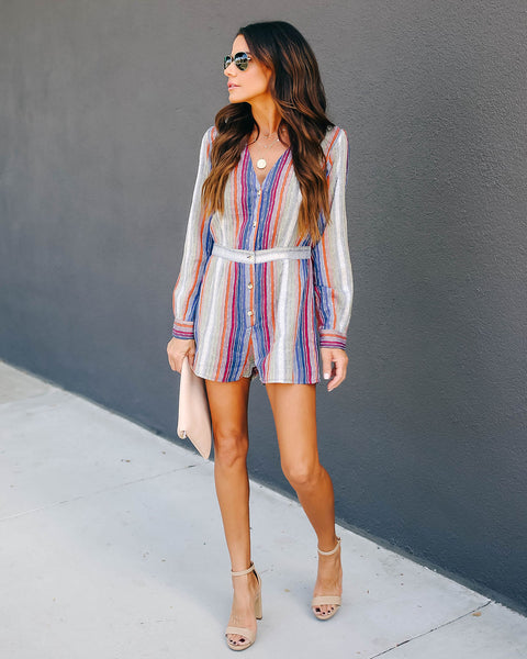 Carpe Diem Striped Button Down Romper - FINAL SALE
