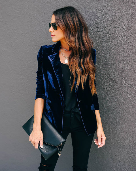 Wine Me And Dine Me Pocketed Velvet Blazer - Navy