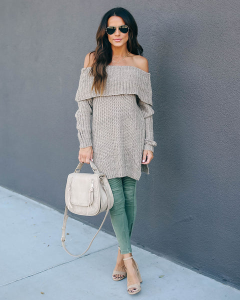 Patience Off The Shoulder Knit Sweater - Mocha - FINAL SALE