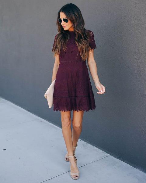 Honor Me Lace Dress - Wine