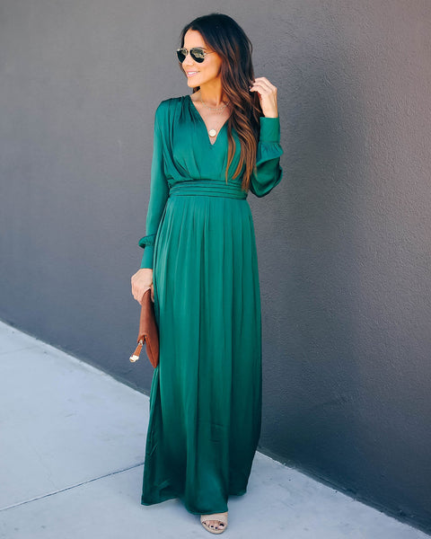 Record Satin Long Sleeve Maxi Dress - Green