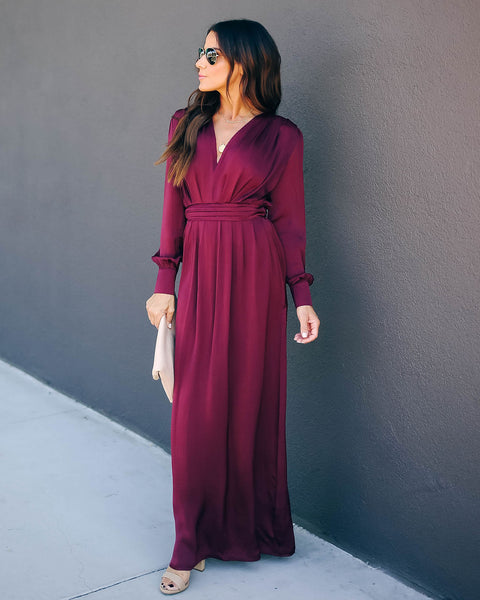 Record Satin Long Sleeve Maxi Dress - Burgundy