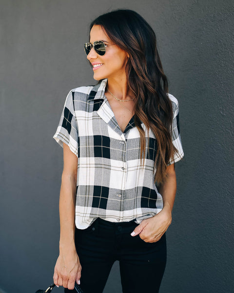 Candy Corn Short Sleeve Button Down Plaid Top