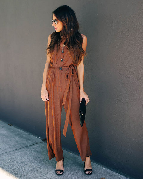 Buckwheat Knit Tie Jumpsuit
