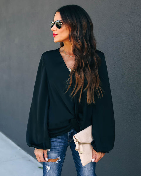 Ganessa Satin Twist Blouse - Black