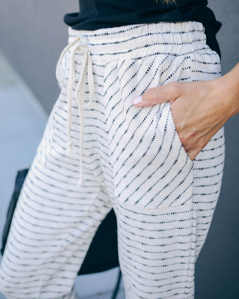 Payce Cotton Blend Striped Pocketed Joggers - FINAL SALE