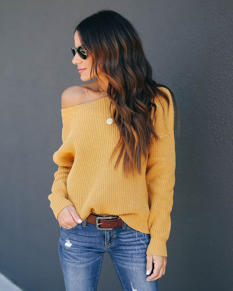 Practice Kindness Cotton Knit Sweater - Golden