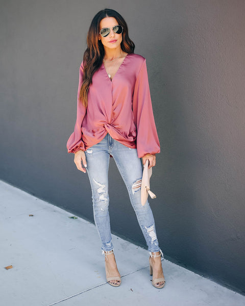Ganessa Satin Twist Blouse - Dusty Rose