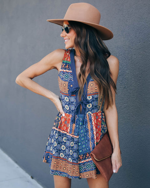Aladdin Printed Tie Romper - FINAL SALE
