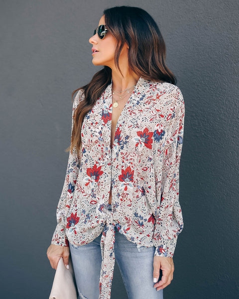 Genius Floral Tie Blouse - FINAL SALE