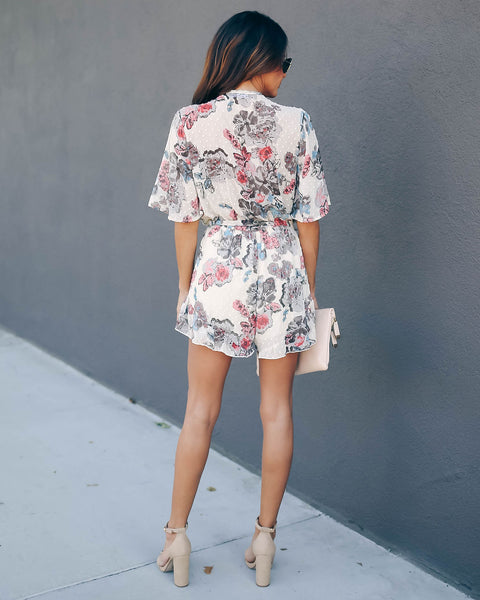 Glad I Made It Swiss Dot Floral Romper - FINAL SALE