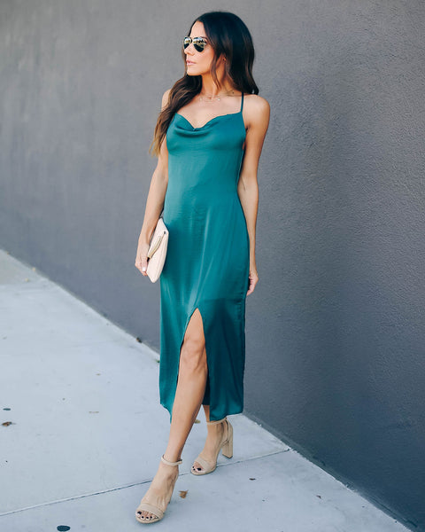 Sycamore Satin Midi Slip Dress - Emerald