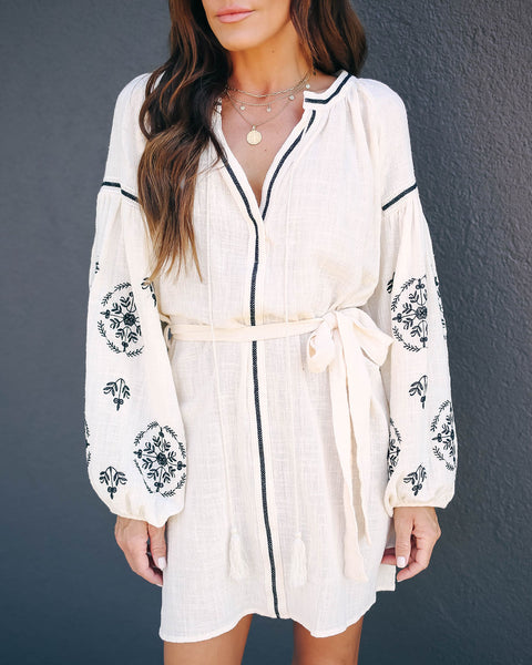 Live Consciously Cotton Embroidered Tassel Dress