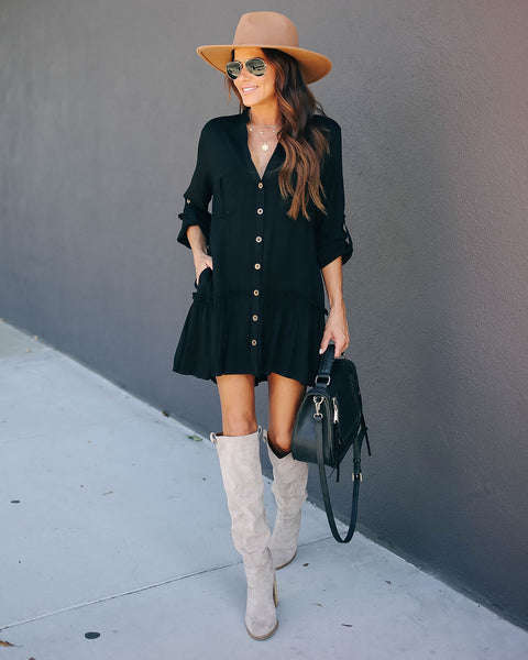 Flurry Pocketed Button Down Tunic - Black - FINAL SALE