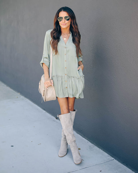 Flurry Pocketed Button Down Tunic - Olive - FINAL SALE
