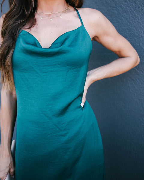 Sycamore Satin Midi Slip Dress - Emerald - FINAL SALE
