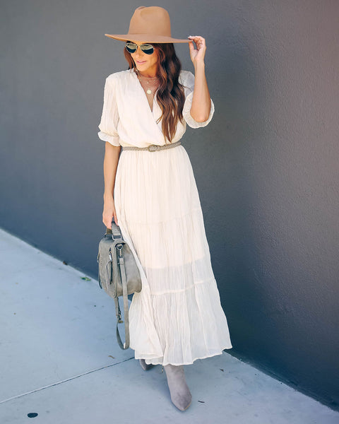 Guardian Angel Pocketed Tiered Maxi Dress - Champagne