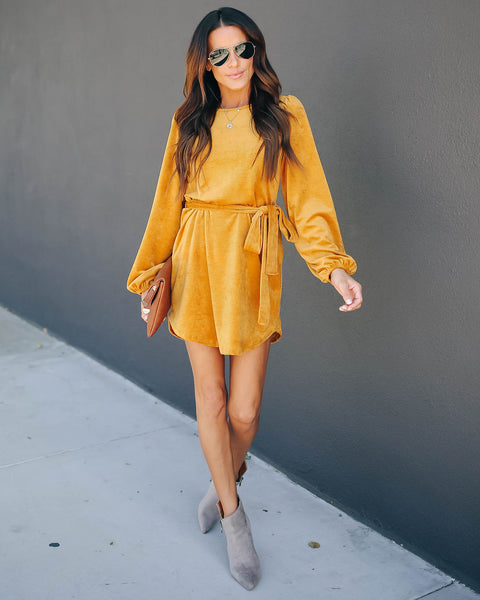 Companions Long Sleeve Corduroy Dress - Mustard