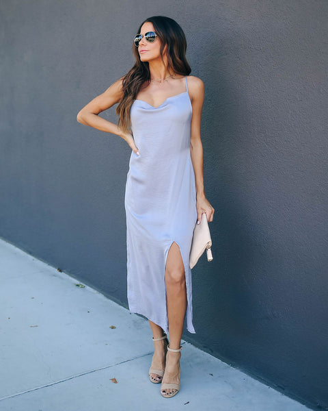 Sycamore Satin Midi Slip Dress - Grey