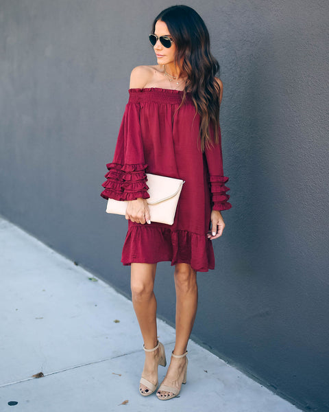 Fia Off The Shoulder Crinkle Satin Ruffle Dress - Burgundy