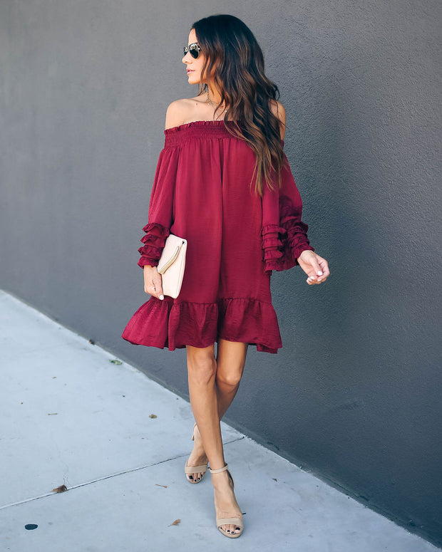Fia Off The Shoulder Crinkle Satin Ruffle Dress - Burgundy - FINAL SALE