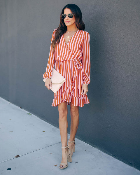 Maple Tree Striped Ruffle Dress