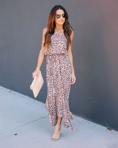 Strapless News Travels Fast Leopard Dress