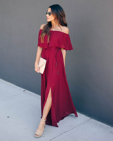 Hozier Off The Shoulder Maxi Dress - Wine