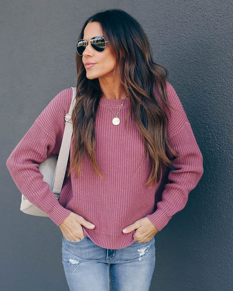 Practice Kindness Cotton Knit Sweater - Berry