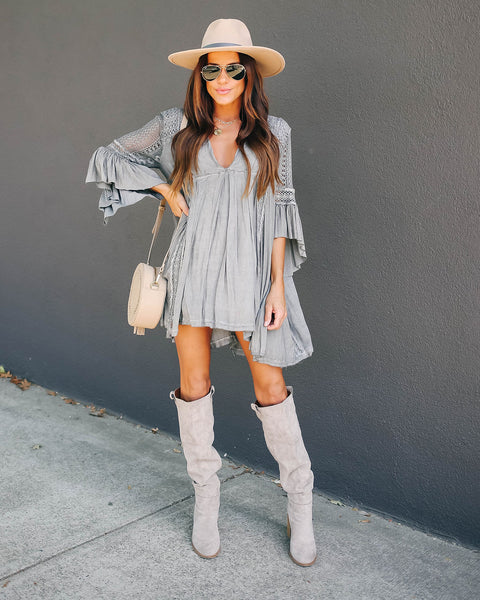 Free Form Crochet Lace Tunic - Dove Grey